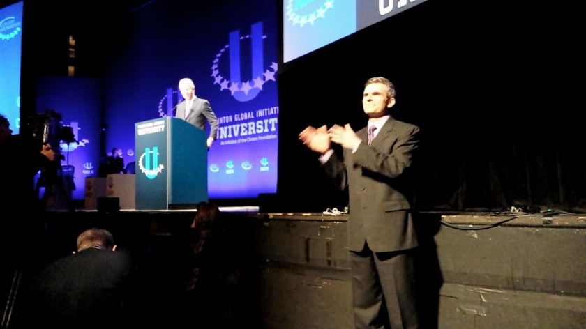 I interpreted for President Bill Clinton in March 2014 at ASU for Clinton Global Initiative University (CGIU)