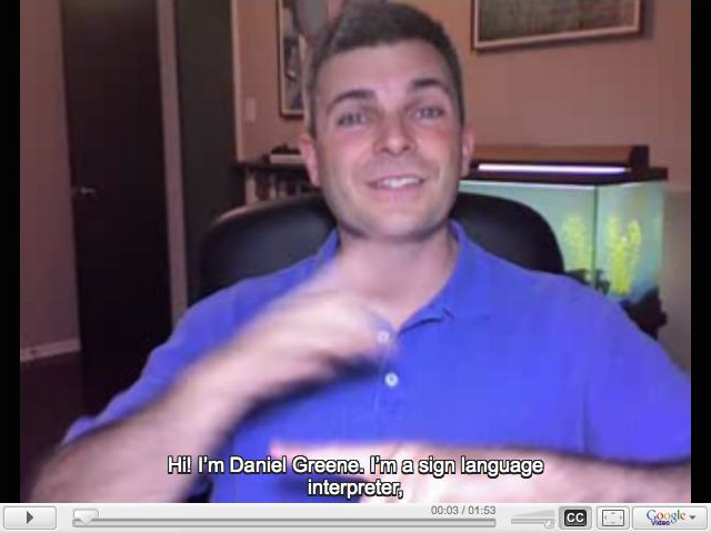 Screenshot of my original captioned Google Video