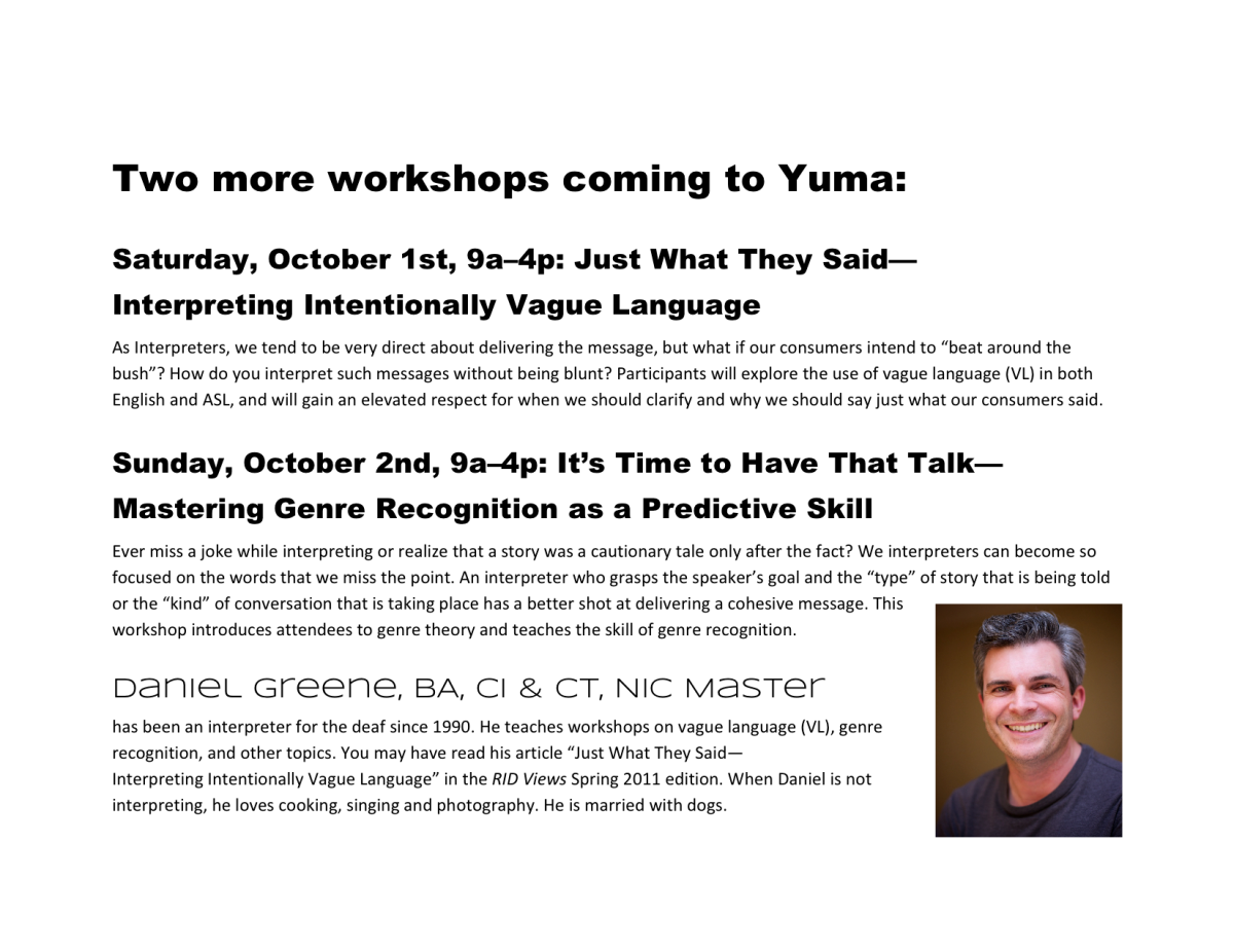 Yuma Workshops Promo Flier