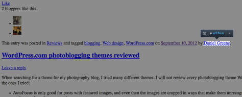 Screenshot of hidden byline exposed by stripping CSS, courtesy of Josh, a WordPress Happiness Engineer