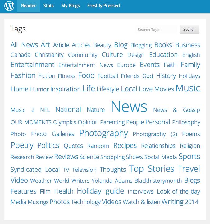 WordPress Tags Feb 9 2014