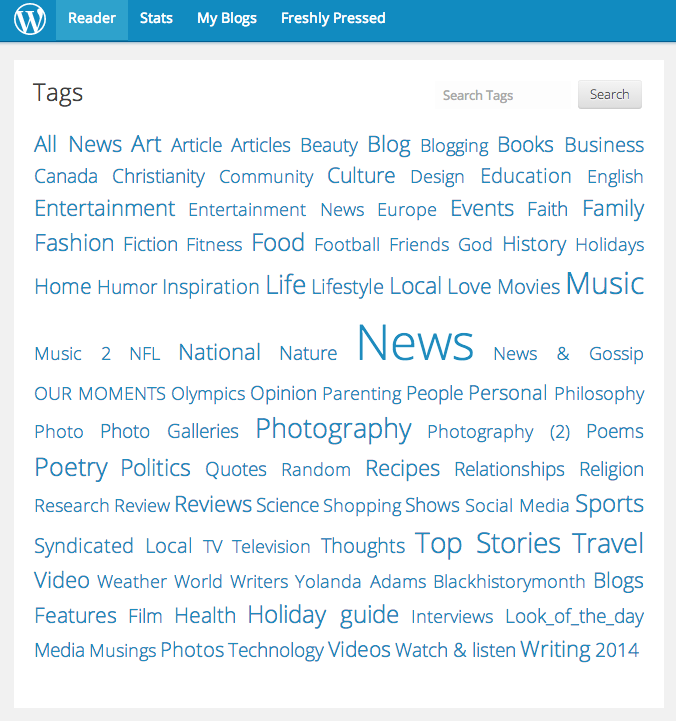 WordPress Tags Feb 9 2014