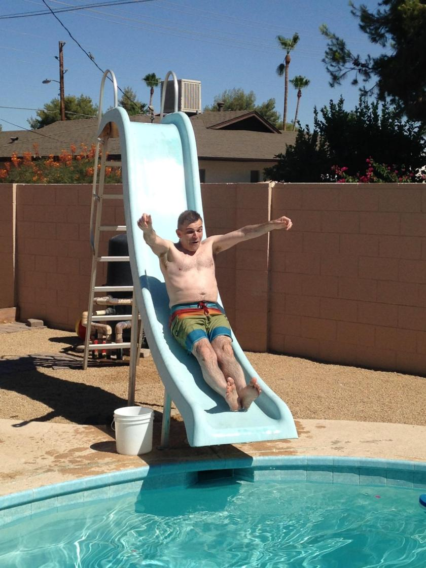Me, going down water slide