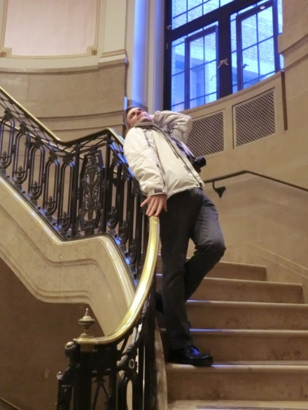 Me vamping on the stairs of the Ritz-Carlton, Quebec City