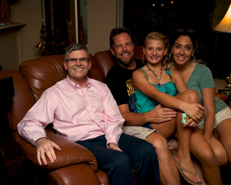 Photo of Me with my brother Chris, niece Gabriella, and sister-in-law Lisa in our living room