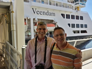 Andy & I embarking upon the Holland America Veendam