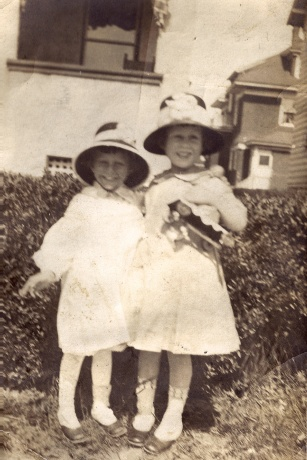 My paternal grandmother as a little girl with a friend