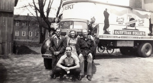 Egyptian Follies truck with people posing on the cab