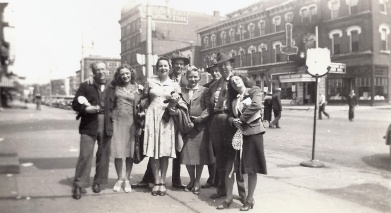 Egyptian Follies cast, street photo. Grandma third from frame left.