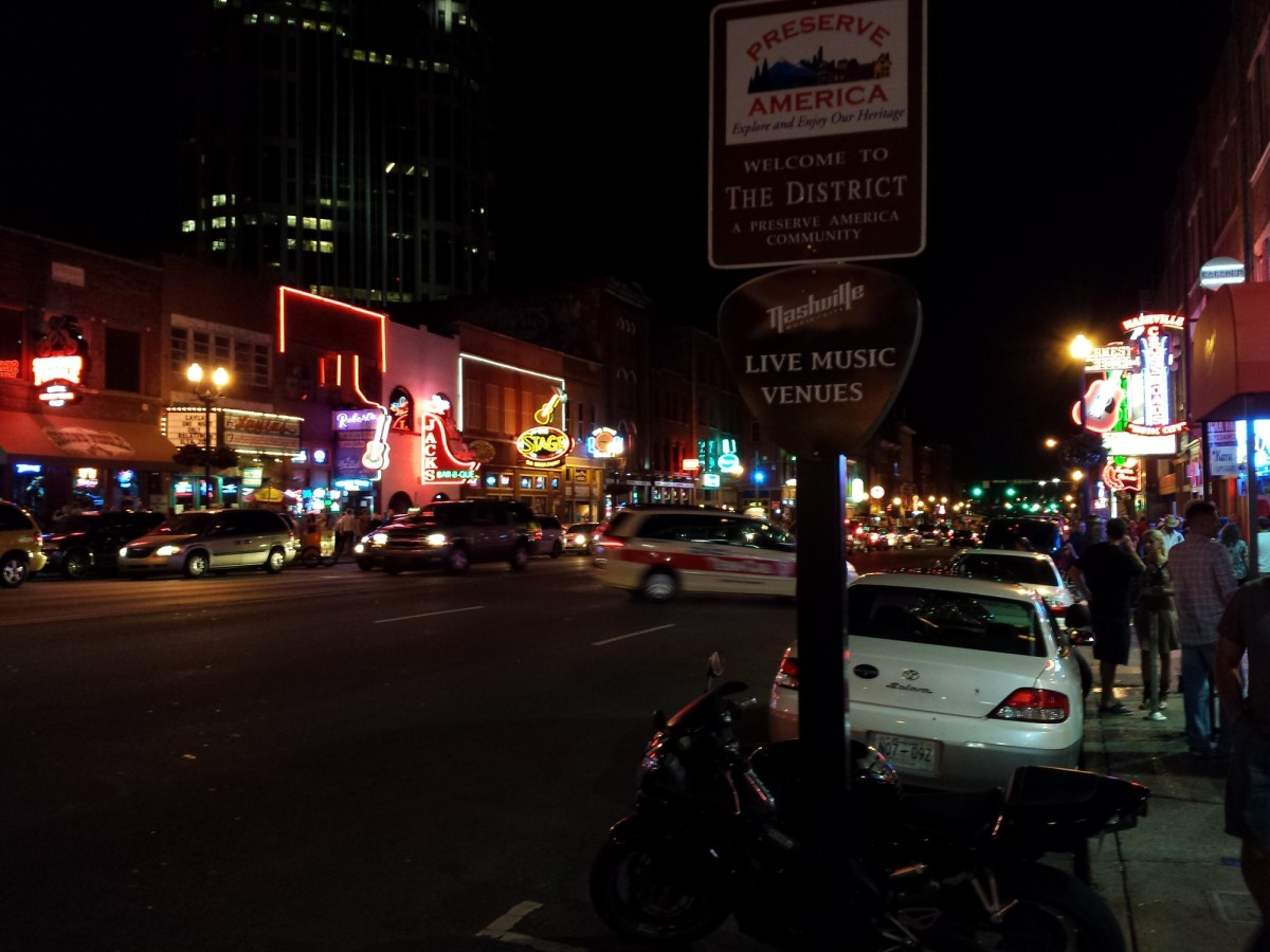 Nashville at night with neon