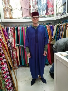 Me in fez, kaftan, and shoes