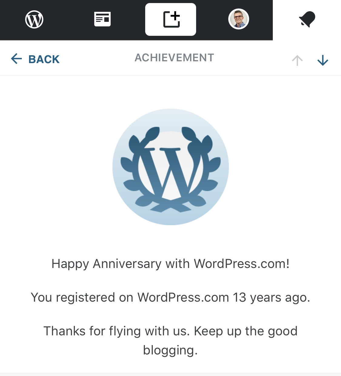 Happy anniversary with WordPress.com! You registered with WordPress.com 13 years ago. Thanks for flying with us. Keep up the good blogging.